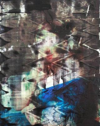 姜培源, 信号-2 Signal-2, 木板上背胶纸彩喷和综合材料, 40x50cm, 2014_1