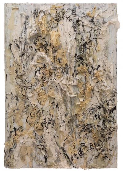 陶艾民, 书山系列, 旧宣纸, 墨, 丙烯银, 150x220cm, 2016