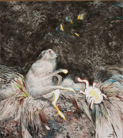 付经岩《兔子与乌龟》 180cmx160cm 布面丙烯 2017